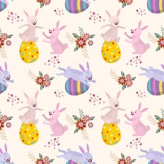 Kaninchen und ostereier nahtlose muster.