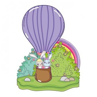 Kaninchen verbinden das fliegen in heißem valentinsgrußtag der ballonluft