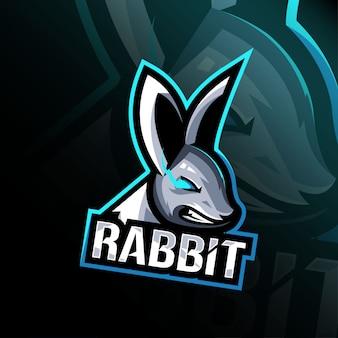 Kaninchen wütend maskottchen logo esport design