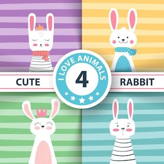 Kaninchen zeichen nette winterillustration.