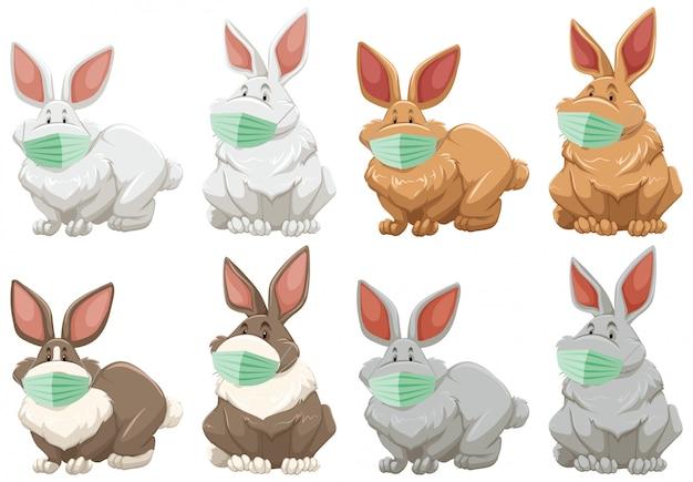 Kaninchen-zeichentrickfigur, die maske trägt
