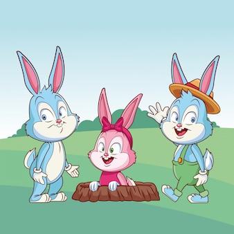 Kaninchenbau-naturhintergrundbüsche der netten freunde des osterhasen glücklichen