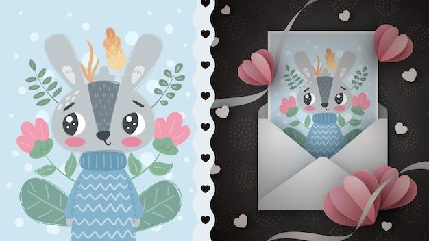 Kaninchenillustration - idee für grußkarte.