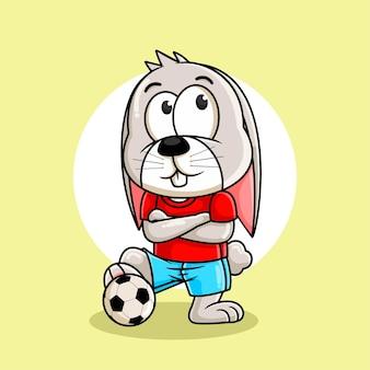 Kaninchenkarikatur, die fußballillustration spielt