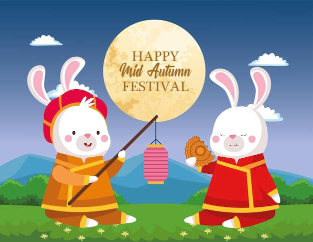 Kaninchenkarikaturen in traditionellem stoff mit laternen- und mondkuchenentwurf, orientalisches chinesisches und feierthema des erntedankfestes der mitte des herbstes