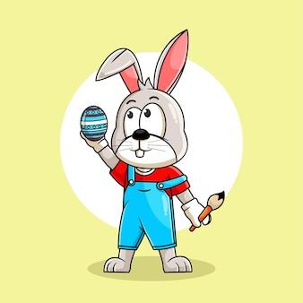 Kaninchenkarikaturmalerei-ei für ostertagsillustration