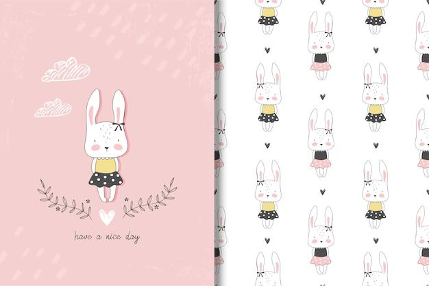 Kaninchenkarte des kleinen mädchens und nahtloses muster
