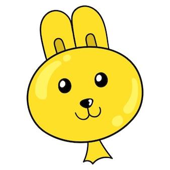 Kaninchenkopf geformter gelber ballon, vektorillustrationskarton-emoticon. gekritzelsymbol-zeichnung