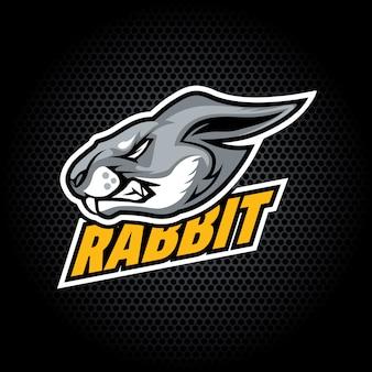 Kaninchenkopf von der seite. kann für vereins- oder teamlogo verwendet werden.