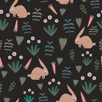 Kaninchenmuster mit nahtlosem exotischem blumenthema