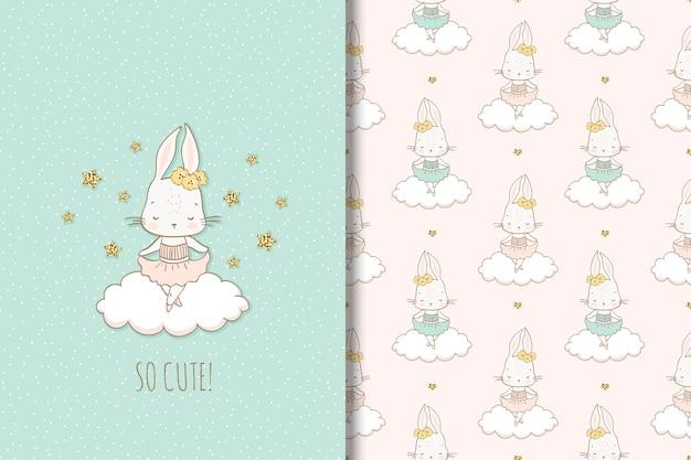 Kaninchentanzen des kleinen mädchens auf der wolke. illustration und nahtloses muster für kinder.