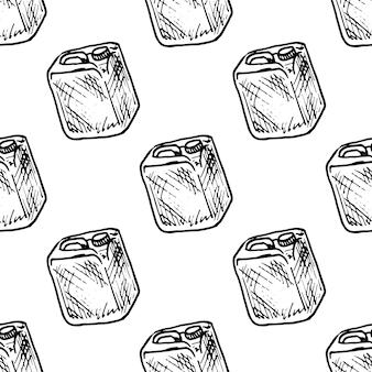 Kanister gekritzel des nahtlosen musters hand gezeichnet. symbol für den skizzenstil. dekorationselement. isoliert auf weißem hintergrund. flaches design. vektor-illustration.