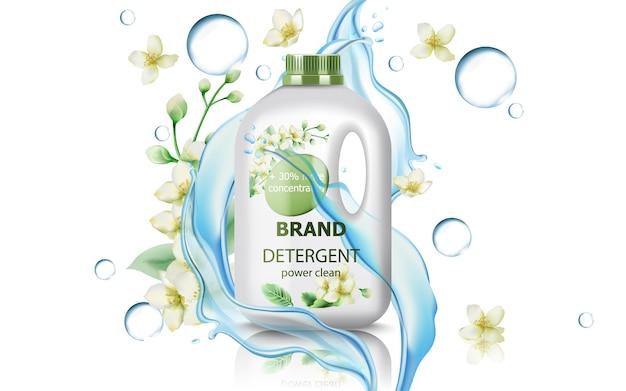 Kanister mit waschmittel, umgeben von blumen, blasen und fließendem wasser. konzentrierte saubere kraft. realistisch