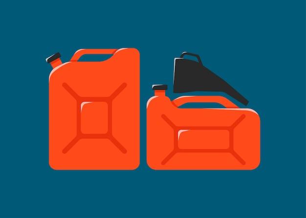 Kanister, trichter, kraftstoff-symbol. metallkanister der benzinkarikatur