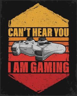 Kann dich nicht hören, ich bin gaming-schriftzug mit einem handgezeichneten gamecontroller und vintage-streifen