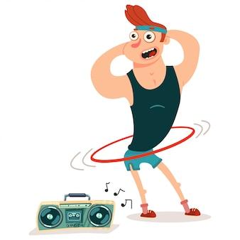 Kann fitness-übungen mit hula hoo machen. nette kerlzeichentrickfilm-figur lokalisiert