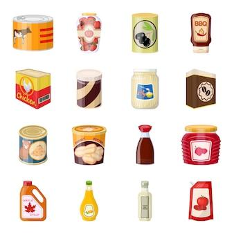 Kann lebensmittelkarikatur-ikonensatz, kann produkt.