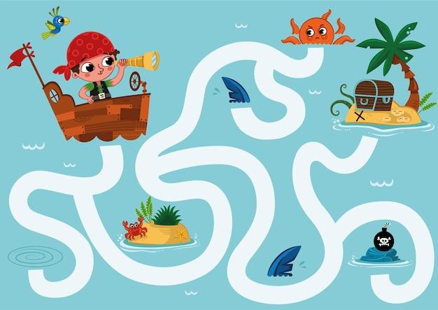 Kannst du dem kleinen piraten helfen, den schatz auf einer insel zu finden labyrinth-spiel für kinder?