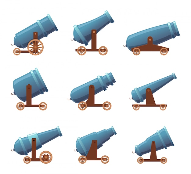 Kanonen-retro-waffen. schwerer mittelalterlicher kampfwaffenkarikatursatz der militärpiratenangriffsartillerie lokalisiert