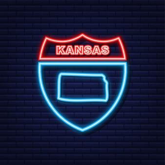 Kansas state map umriss-neon-symbol. vektor-illustration.