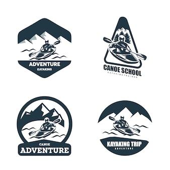 Kanu & kajak abzeichen logo designs template set
