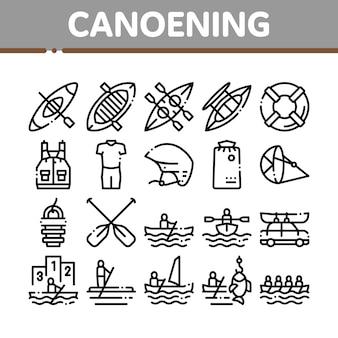 Kanufahren-sammlungs-element-ikonen eingestellt
