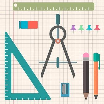 Kanzlei satz von objekten in einem flachen stil