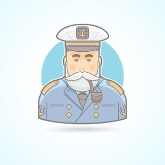 Kapitän eines schiffes, flaggoffizier, seemannsikone. avatar und personenillustration. farbig umrissener stil.