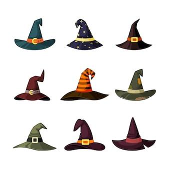 Kappen von zauberern und magiern färbten maskeradeelemente