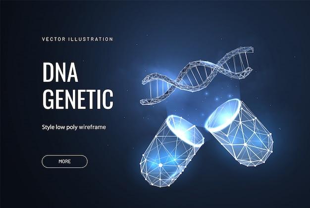 Kapsel und dna-gen im polygonalen stil
