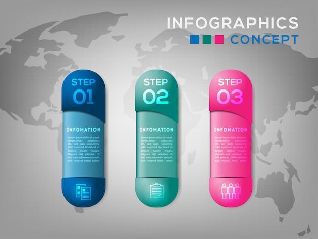 Kapselform diagramm infografiken vorlage mit 3 optionen für präsentationen, business, layouts.