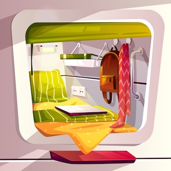 Kapselhotel- oder -hülsenhostelleillustration. moderner karikaturreisender-rauminnenraum mit bett