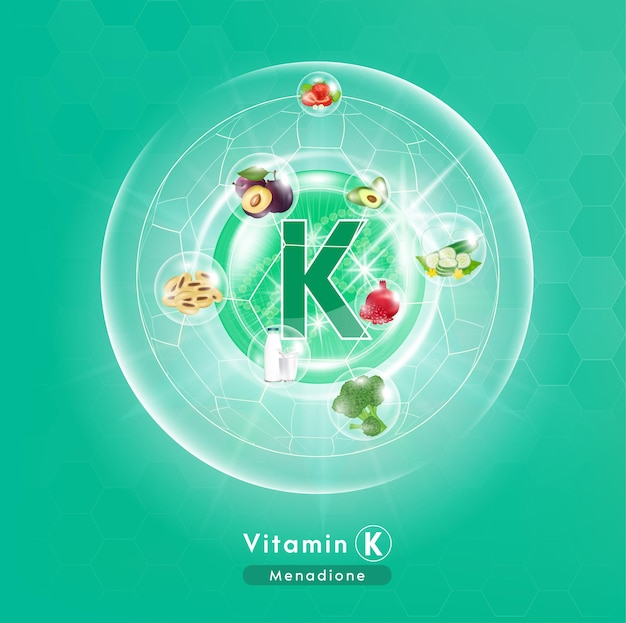 Kapseln des grünen vitamin-k-komplexes mit chemischer formel