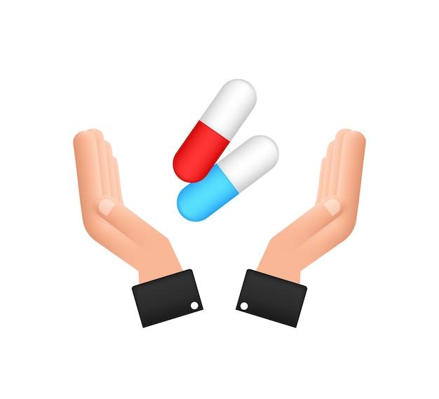 Kapselpillen in den händen realistische pillenblase mit kapseln auf weißem hintergrund