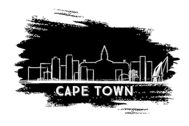 Kapstadt-skyline-silhouette. handgezeichnete skizze. vektor-illustration. geschäftsreise- und tourismuskonzept mit moderner architektur. bild für präsentationsbanner-plakat und website.