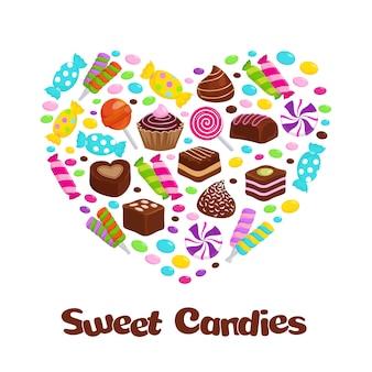Karamell lutschersüßigkeiten und flache ikonen der schokoladenbonbons in der herzform