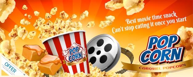 Karamell-popcorn-bannerwerbung mit fliegenden körnern in der illustration
