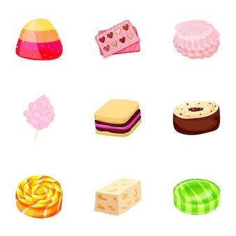 Karamell-süßigkeiten-icon-set. karikatursatz karamellsüßigkeitsikonen