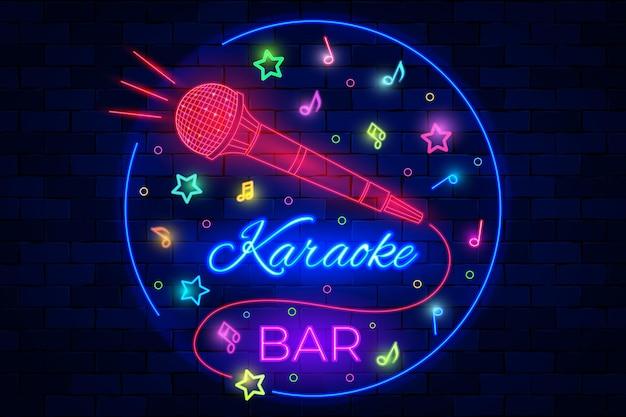 Karaoke bar nachtclub neon beleuchtetes logo mit mikrofon. musikparty, musikveranstaltung, musikkonzertunterhaltung, leuchtende fluoreszierende werbetafel oder trendige logo-vektorillustration