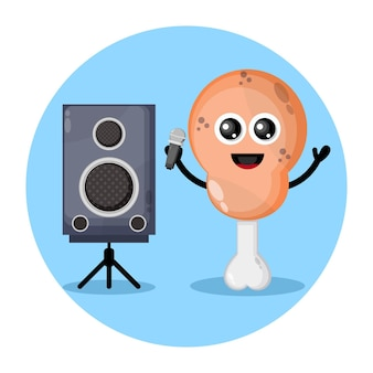 Karaoke gebratenes hähnchenschenkel süßes charakterlogo