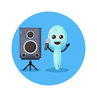 Karaoke-löffel süßes charakterlogo