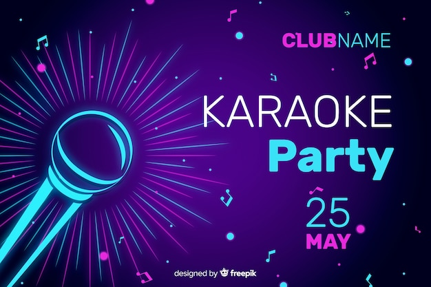 Karaoke night party banner oder flyer vorlage
