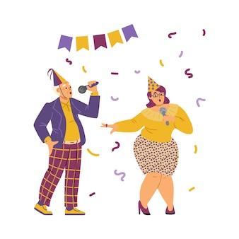 Karaoke-party-performance oder wettbewerb flache vektorgrafik isoliert
