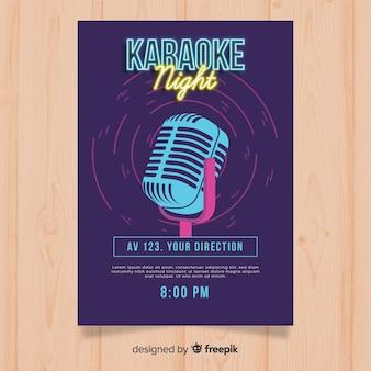 Karaoke party plakat vorlage im flachen stil