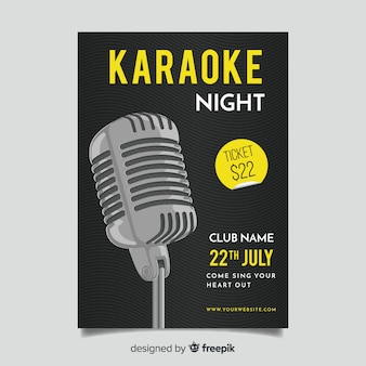 Karaoke plakat vorlage flachen stil