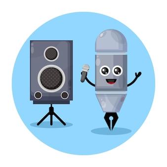 Karaoke-stift süßes charakterlogo