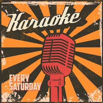 Karaoke vintage poster. element in.