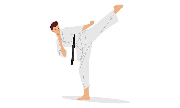 Karate des jungen mannes