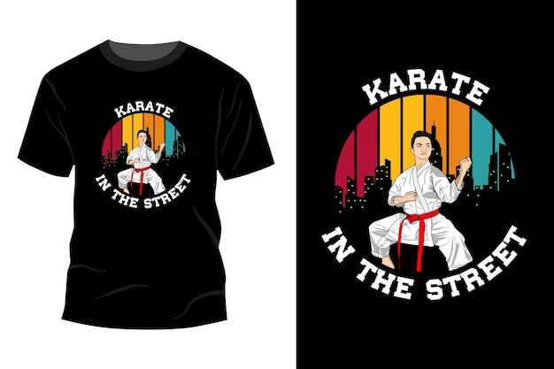 Karate in der straße t-shirt mockup design vintage retro