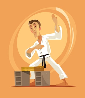 Karate kämpfer mann charakter cartoon illustration